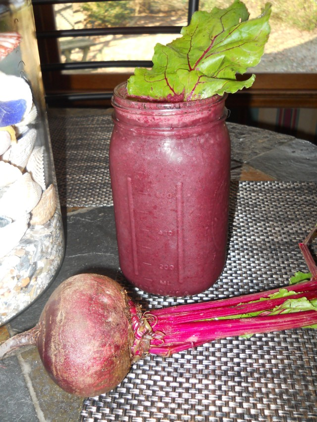 Beet Smoothie on table